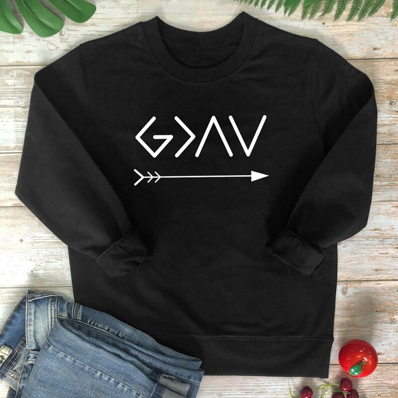 Letter Graphic Round Neck Sweatshirt, Black