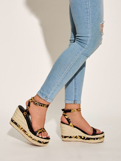 Ankle Strap Plaited Detail Espadrille Wedges