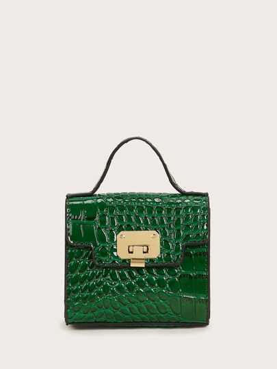 Mini Croc Embossed Flap Chain Satchel Bag