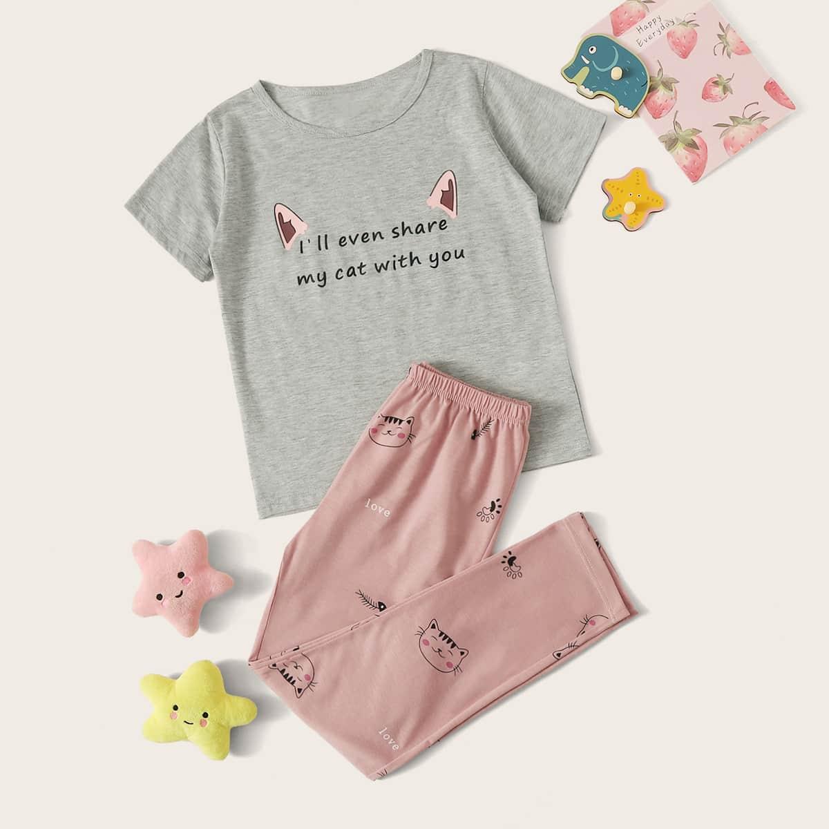 Пижама с текстовым и мультяшным принтом для девочек