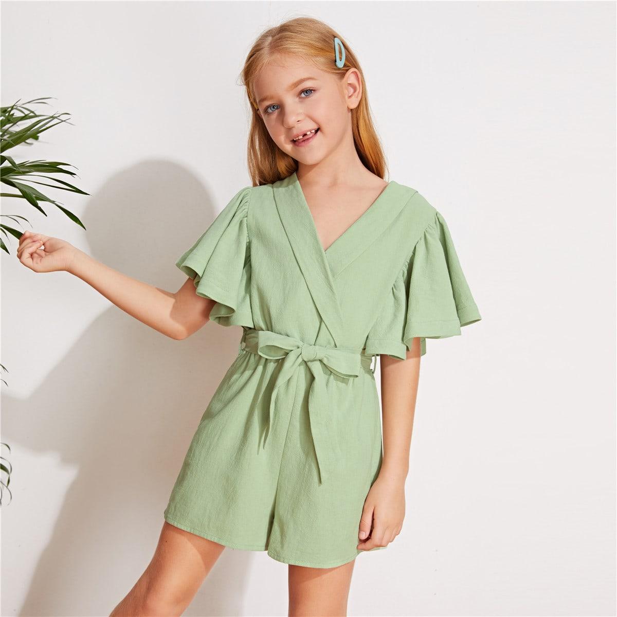 Комбинезон с поясом, v-образным вырезом и оригинальным рукавом для девочек
