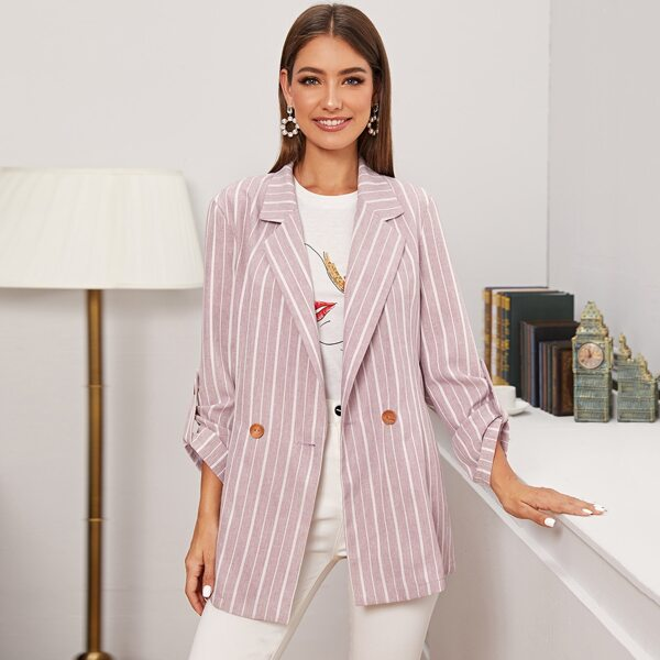 Double Button Rolled Up Sleeve Striped Blazer, Pink