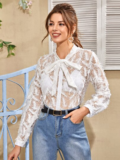 Contrast Feather Tie Neck Sheer Blouse