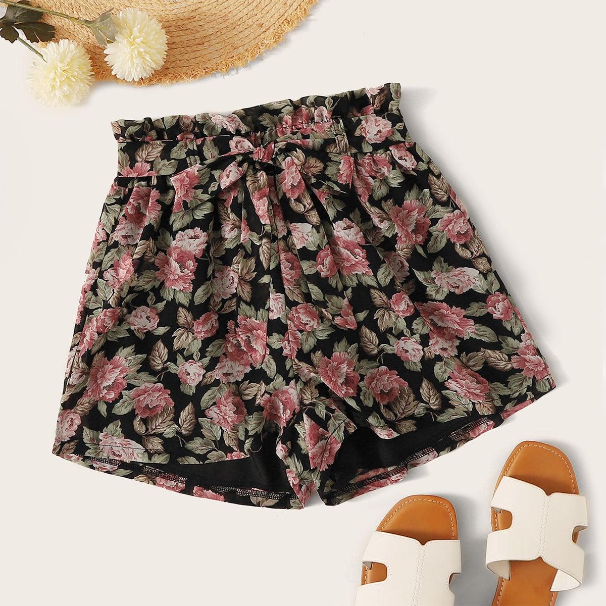 Shorts mit Blumen Muster, Papiertasche Taille und Gürtel