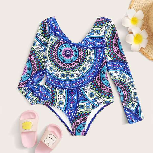 Toddler Girl Tribal Random Print Long Sleeve One Piece Swimwear, Blue
