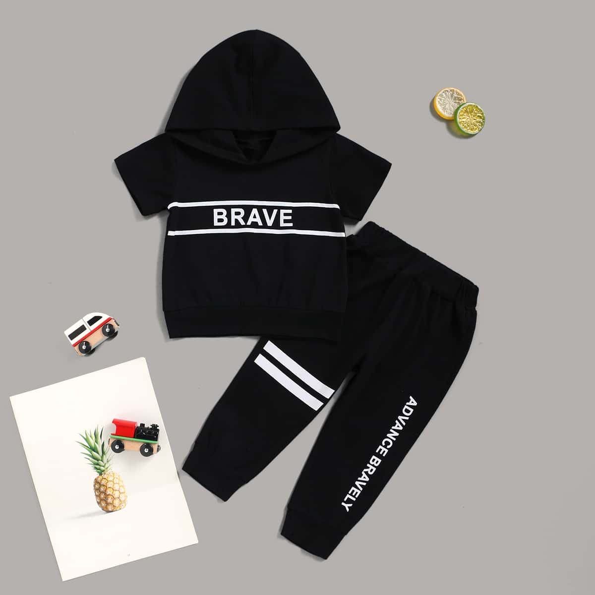 Baby Boy Letter Graphic Striped Hoodie With Sweatpants