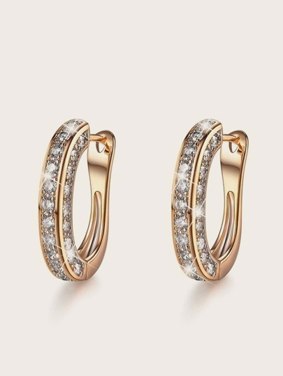 1pair Rhinestone Engraved Hoop Earrings