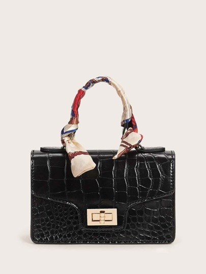 Twilly Scarf Handle Croc Embossed Satchel Bag