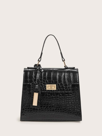 Croc Embossed Twist Lock Flap Satchel Bag