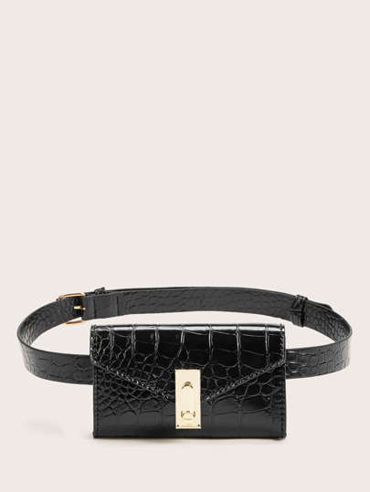 Mini Croc Embossed Flap Fanny Pack