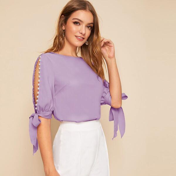 Pearl Beaded Split Sleeve Knot Cuff Top, Lilac purple