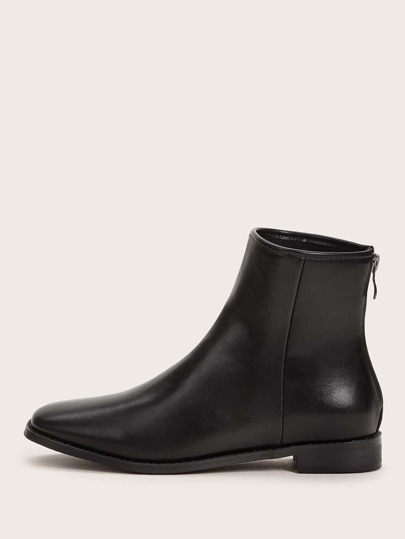 Square Toe Zip Back Ankle Boots