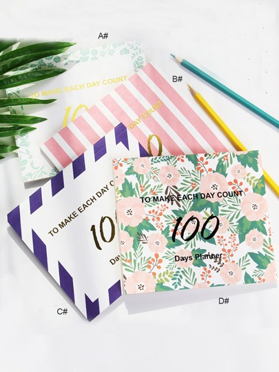 1pack 100 Day Countdown Plan Notebook