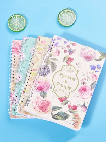 1pack Flower Print Cover Spiral Notebook