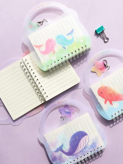 1pack Random Cartoon Graphic Spiral Notebook With Handle