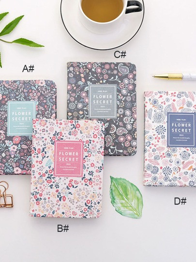 1pack Floral Overlay Print Cover Notebook