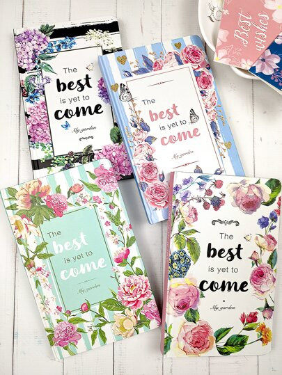 1pack Floral & Letter Graphic Cover Notebook