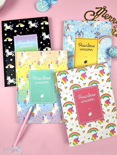 1pack Rainbow Unicorn Pattern Cover Notebook