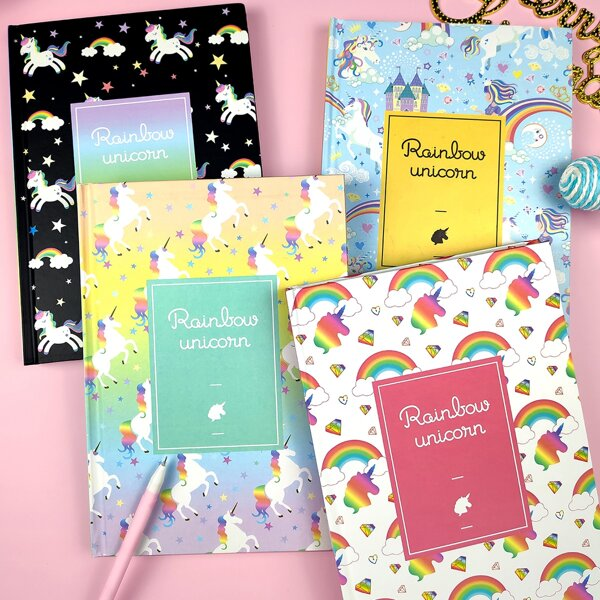 1pack Rainbow Unicorn Pattern Cover Notebook, Multicolor