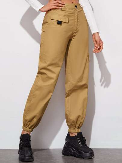 Ribbon Flap Pockets Button Fly Cargo Pants