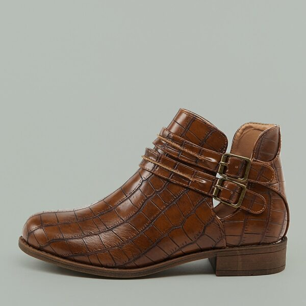 Double Buckle Low Heel Almond Toe Croc Booties, Brown