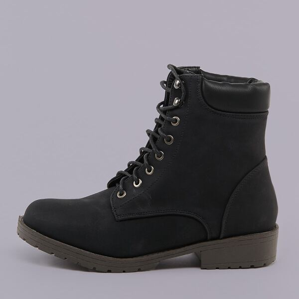 Padded Collar Lace Front Lug Sole Combat Boots, Black