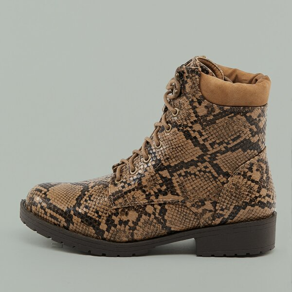 Padded Cuff Lace Up Lug Sole Snake Military Boots, Multicolor