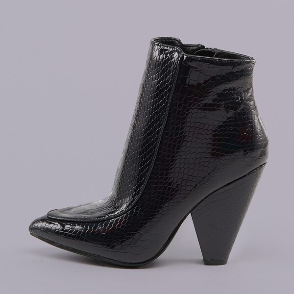 Patent Pointed Toe Croc Cone Heel Booties, Black