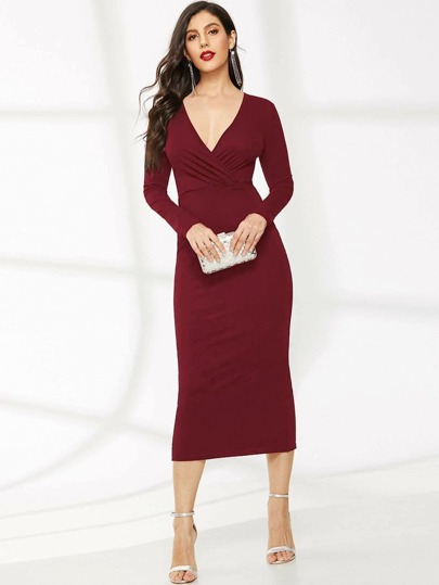 Surplice Neck Split Back Pencil Dress