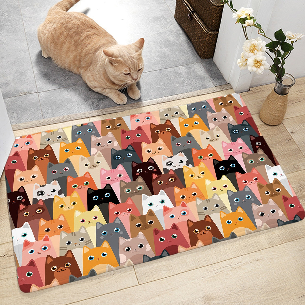 Cartoon Cat Pattern Floor Mat