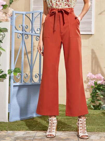 Solid Belted Flare Leg Pants