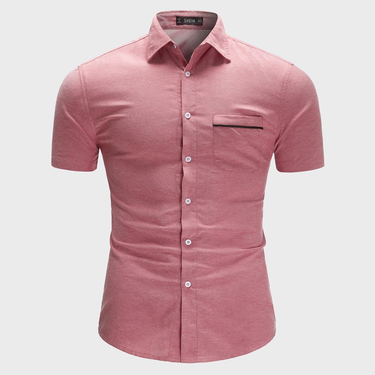 Men Patch Pocket Curved Hem Shirt