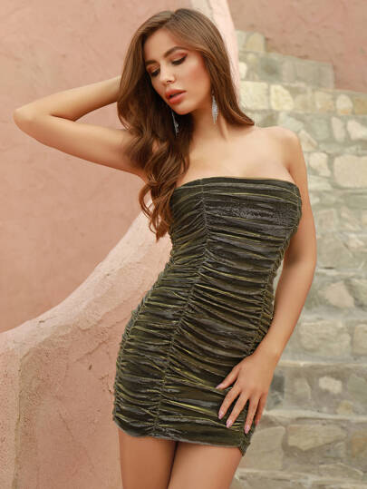 DKRX Ruched Mesh Tube Bodycon Dress