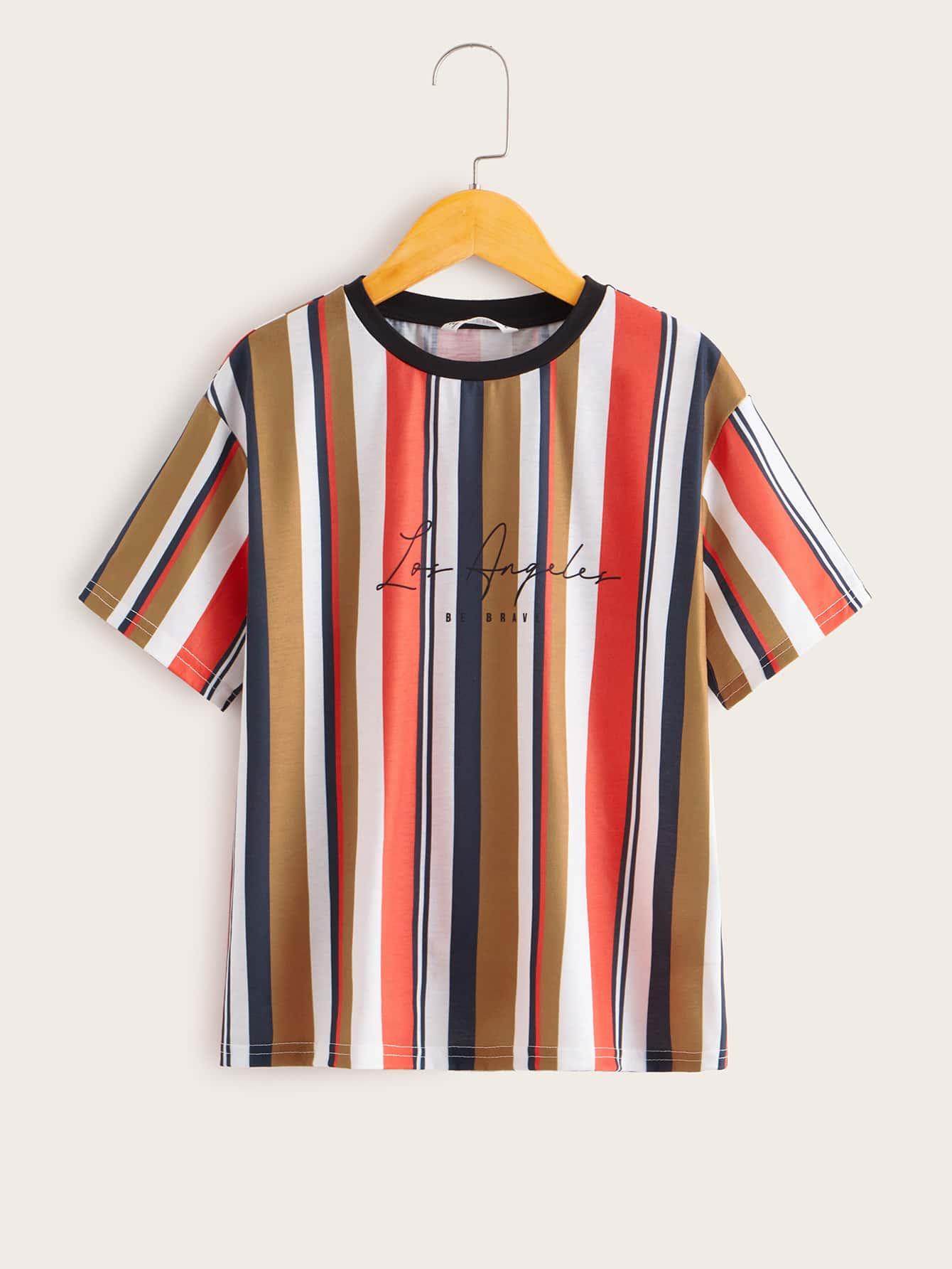 SHEIN Полосатая футболка с текстовым принтом для мальчиковsktee07200102746