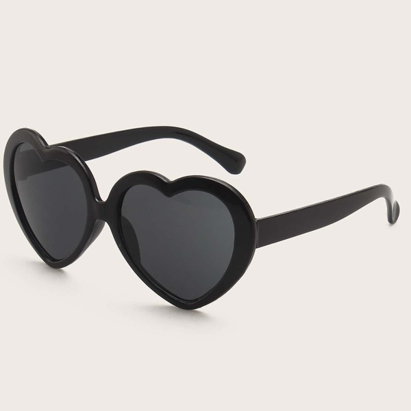 Kids Heart Shaped Frame Sunglasses, Black