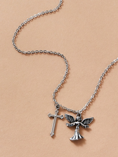 1pc Angel & Cross Charm Necklace