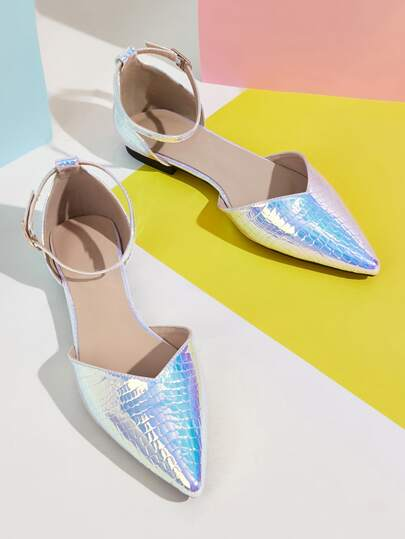 Point Toe Ankle Strap Holographic Flats