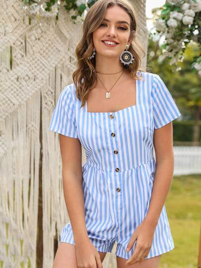 Vertical Striped Button Front Romper