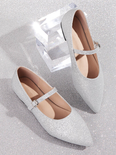 Point Toe Buckle Strap Glitter Flats