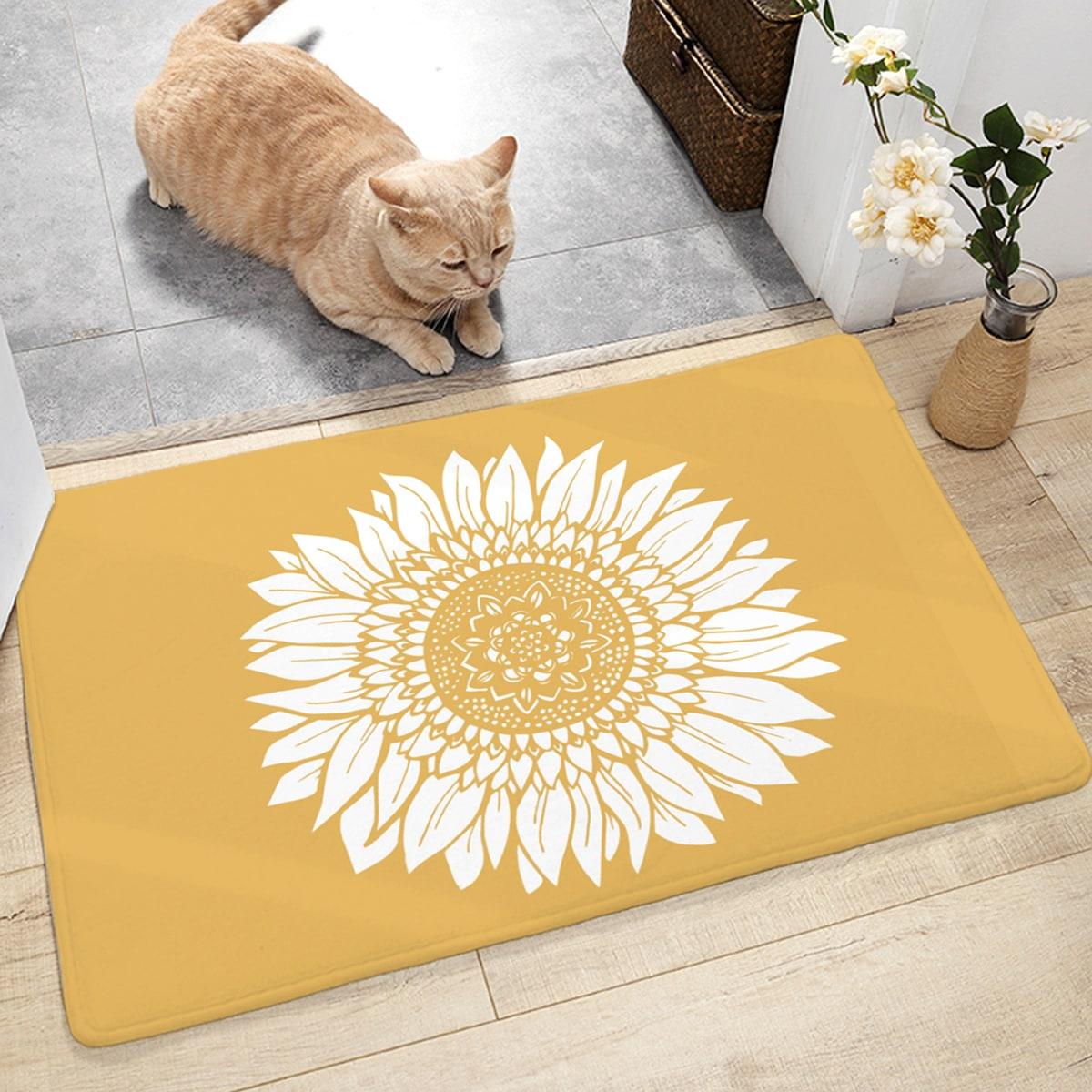 Bodenmatte mit Sonnenblumen Muster