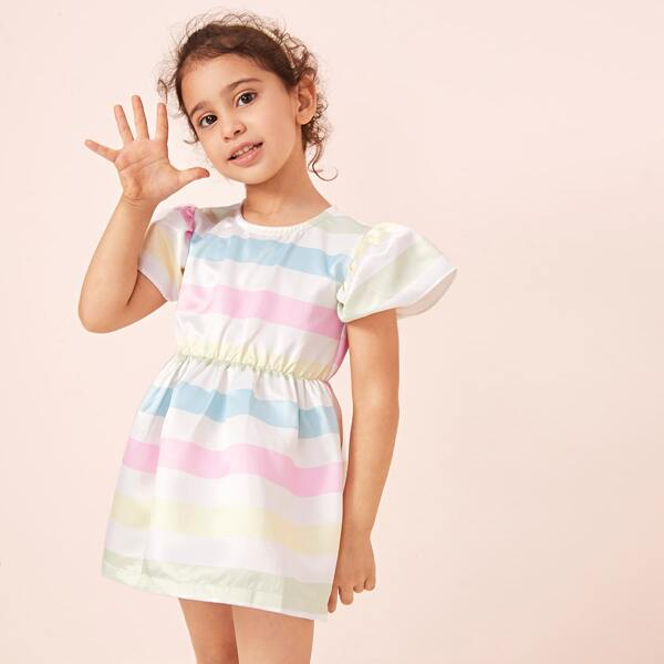 Toddler Girls Striped Color-block A-line Dress, Multicolor