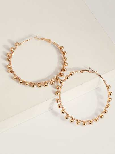 1pair Bead Decor Hoop Earrings
