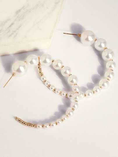 1pair Faux Pearl Beaded Cuff Hoop Earrings