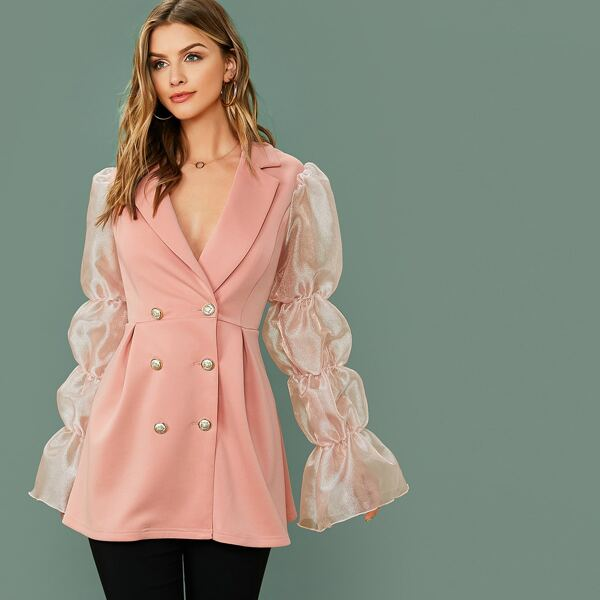Notched Collar Double Breasted Organza Sleeve Blazer, Pink pastel