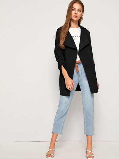 Solid Roll-up Sleeve Trench Coat