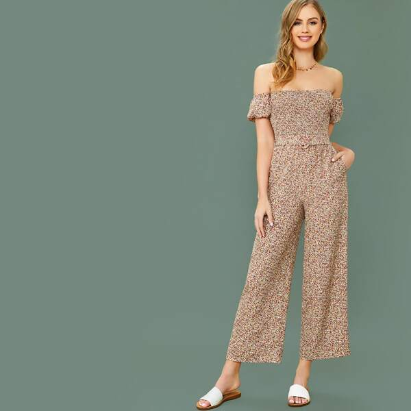 Ditsy Floral Print Shirred Bodice Buckle Belted Bardot Jumpsuit, Multicolor