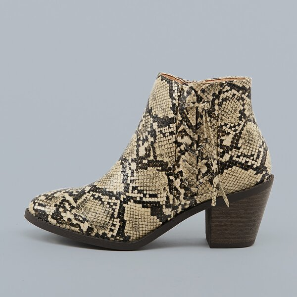 Laced Detail Almond Toe Stacked Heel Snake Booties, Multicolor