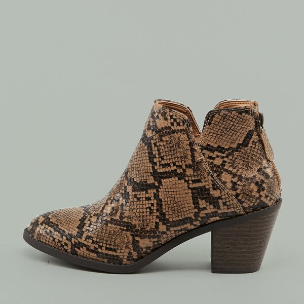 Almond Low Stacked Heel Snake Ankle Boots, Multicolor