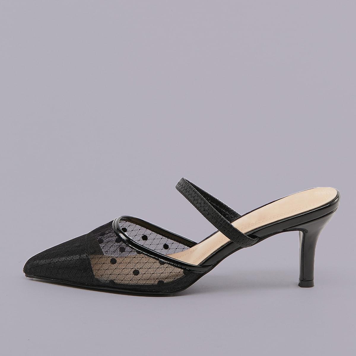 Чёрный в горошек деловый стиль  каблуки
