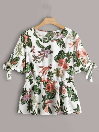 Plus Floral & Tropical Print Knot Cuff Peplum Blouse